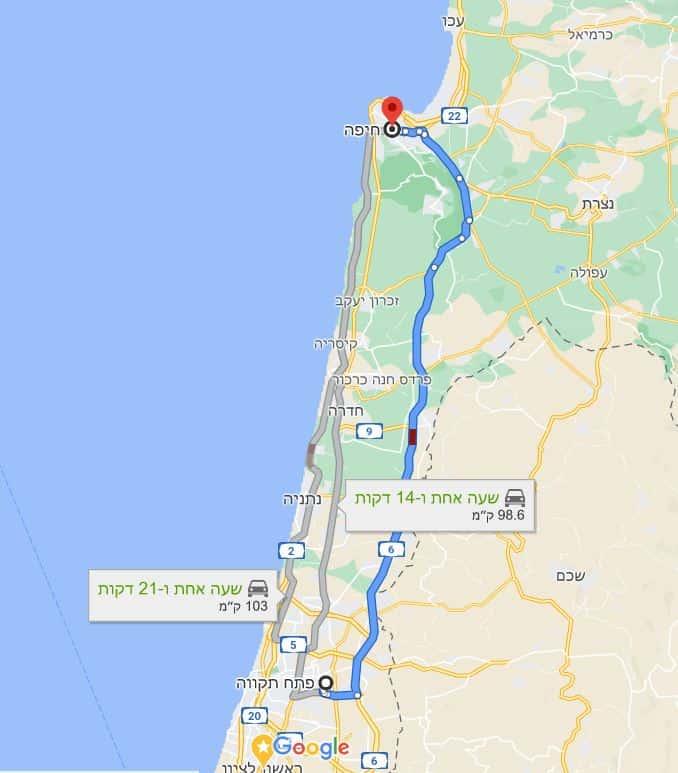מסלול הובלה חיפה פתח תקווה