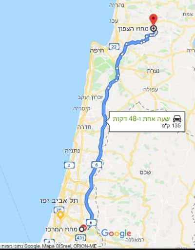 מסלול הובלה מהמרכז לצפון או מהצפון למרכז