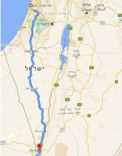 מסלול הובלה מומלץ מהמרכז לאילת