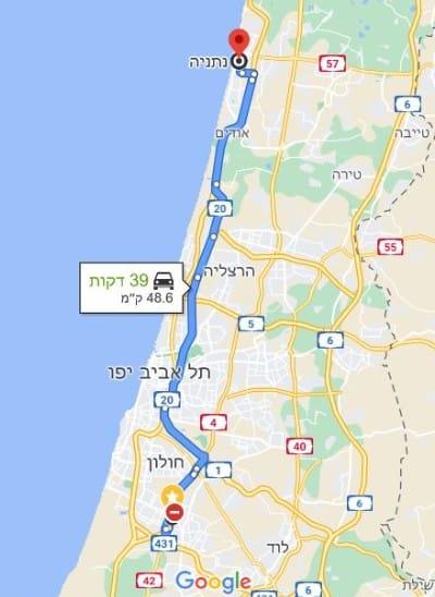 מסלול הובלה תל אביב באר שבע